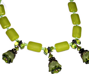 green necklace and seed bead necklace image