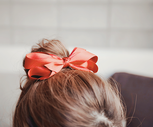 hair, bow, and red image