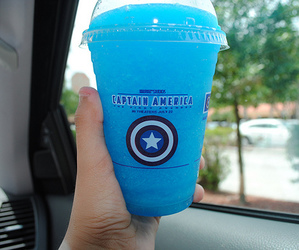 blue, drink, and captain america image