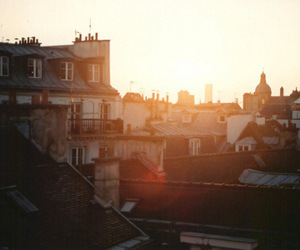 city, sun, and vintage image