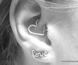 piercing, love, and ear image