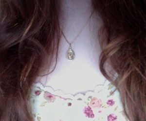 dress, flower, and necklace image
