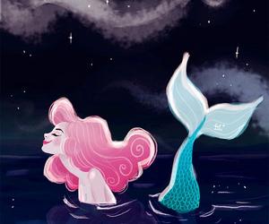 drawing, mermaid, and night image