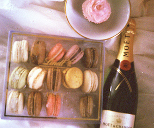 champagne, food, and macaroons image