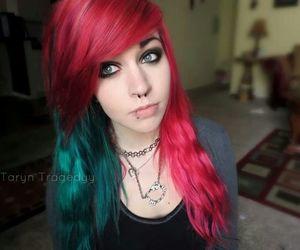 beautiful, green hair, and lip piercing image