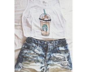 starbucks, outfit, and shorts image