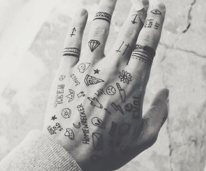 tattoo, hand, and cigarette image