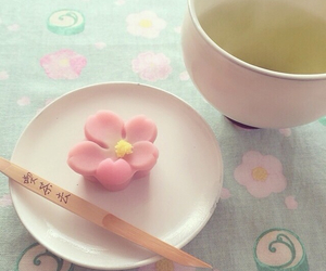 cherry blossom, food, and green tea image