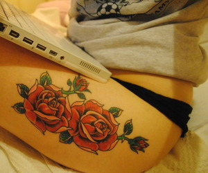 girl, tattoo, and roses image