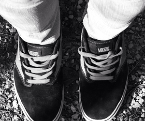 black and white, shoes, and skate image