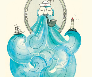 sea, blue, and sailor image