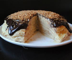 cake, crepe cake, and chocolate image