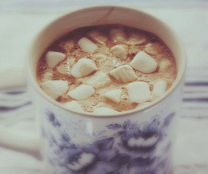 marshmallow, hot chocolate, and winter image