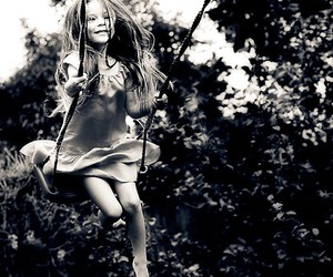 girl, black and white, and swing image