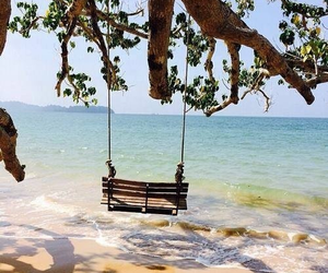 lonely, sea, and swing image