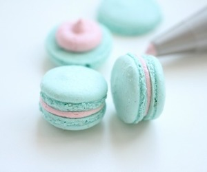 blue, pink, and macarons image