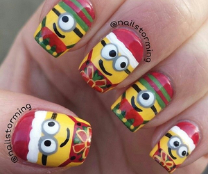 nails, christmas, and minions image