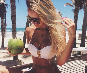 beach, blonde, and long hair image