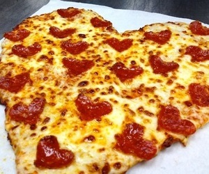 hearts, pizza, and cute image