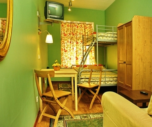 bed and breakfast, dorm, and green image