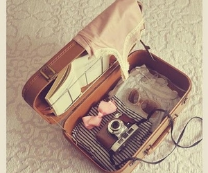 camera, vintage, and suitcase image