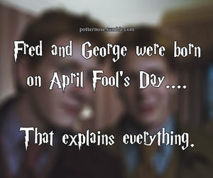 harry potter, twins, and april fools day image