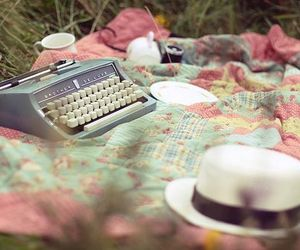 hat, vintage, and typewriter image