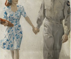 couple, soldier, and romance image