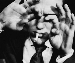 black and white, b&w, and cigarette image