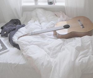 guitar, bed, and music image