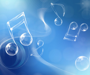 background, blue, and musical notes image