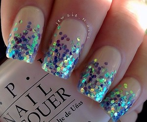nails, blue, and sparkle image