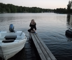 alone, water, and boat image