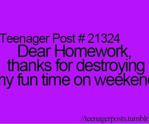 homework, funny, and teenager image