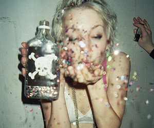 bottle, confetti, and grunge image