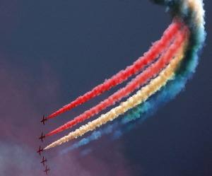 airplanes, colors, and colorful sky image