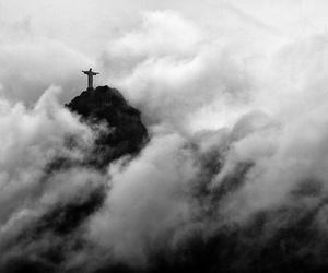 black & white, brasil, and Christ image