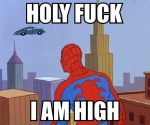 high, spiderman, and car image