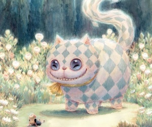 alice in wonderland, alice, and Cheshire cat image
