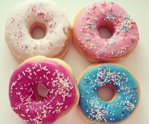 food, sprinkles, and donuts image