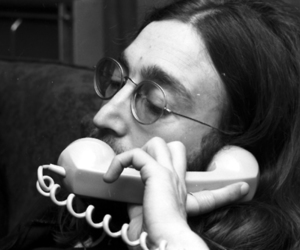 black and white, glasses, and john lennon image