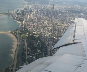 airplane, buildings, and chicago image