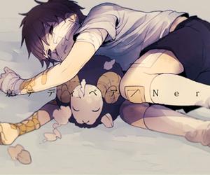 monochrome and anime boy image