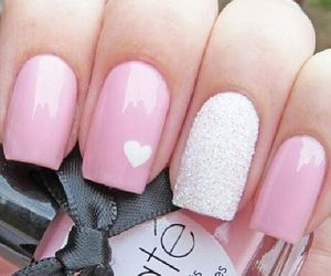 nails, pink, and heart image