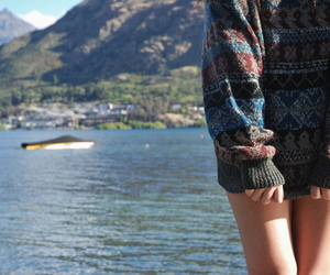 girl, sweater, and sea image