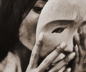 mask, art, and black and white image