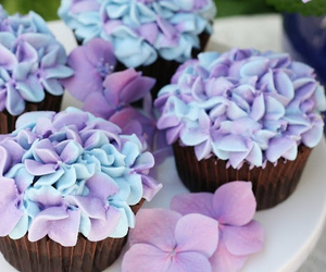 cupcake, flowers, and food image