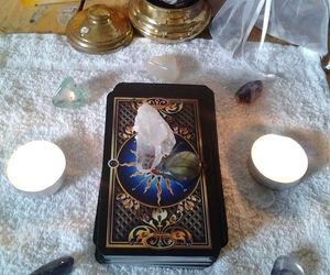 candle, rocks, and cards image
