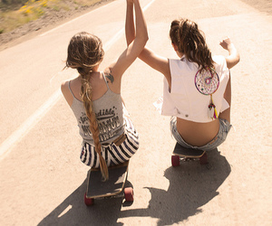 girls, skate, and friends image