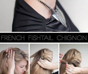 chignon, hair, and fishtail image